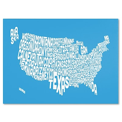 Trademark Fine Art Michael Tompsett 'AZUL-USA States Text Map' Matted Black Frame 11x14 Inches