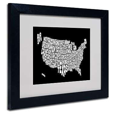 Trademark Fine Art Michael Tompsett 'BLACK-USA States Text Map' Matted Black Frame 11x14 Inches