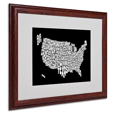 Michael Tompsett 'BLACK-USA States Text Map' Matted Framed - 16x20 Inches - Wood Frame