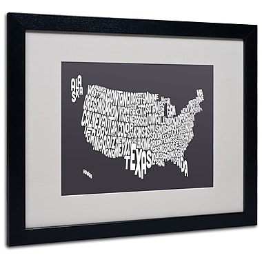 Trademark Fine Art Michael Tompsett 'CHARCOAL-USA States Text Map' Black Frame 16x20 Inches