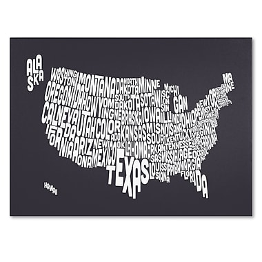 Trademark Fine Art Michael Tompsett 'CHARCOAL-USA States Text Map' Canvas Art 30x47 Inches