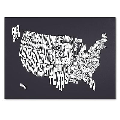 Trademark Fine Art Michael Tompsett 'CHARCOAL-USA States Text Map' Canvas Art 16x24 Inches