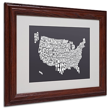 Michael Tompsett 'CHARCOAL-USA States Text Map' Framed - 11x14 Inches - Wood Frame