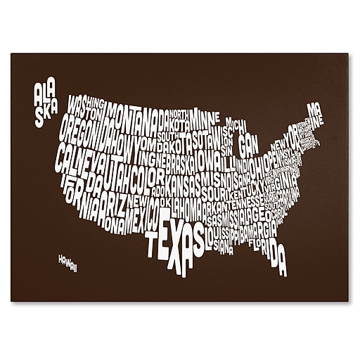 Trademark Fine Art Michael Tompsett 'CHOCOLATE-USA States Text Map' Canvas Art 22x32 Inches