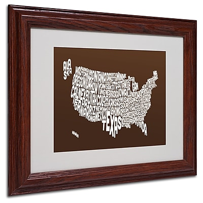 Michael Tompsett 'CHOCOLATE-USA States Text Map' Framed - 11x14 Inches - Wood Frame