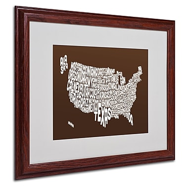 Michael Tompsett 'CHOCOLATE-USA States Text Map' Framed - 16x20 Inches - Wood Frame