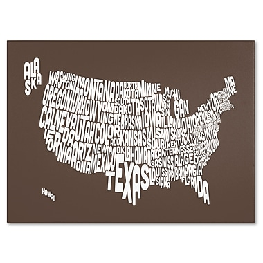 Trademark Fine Art Michael Tompsett 'COFFEE-USA States Text Map' Canvas Art 16x24 Inches