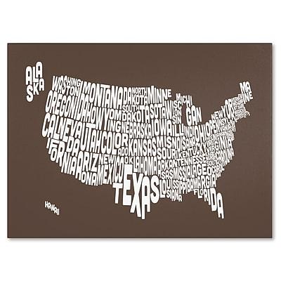 Trademark Fine Art Michael Tompsett 'COFFEE-USA States Text Map' Canvas Art 22x32 Inches