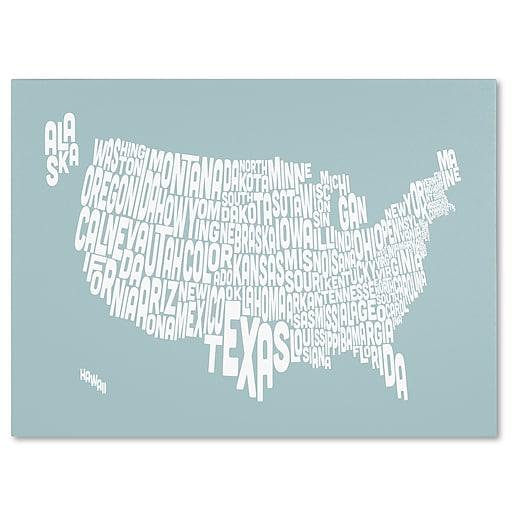 Trademark Fine Art Michael Tompsett 'DUCK EGG-USA States Text Map' Canvas Art 30x47 Inches