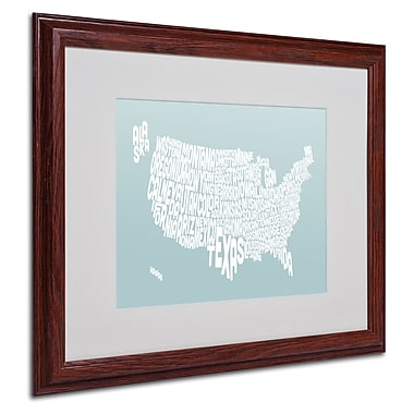 Michael Tompsett 'DUCK EGG-USA States Text Map' Framed - 16x20 Inches - Wood Frame