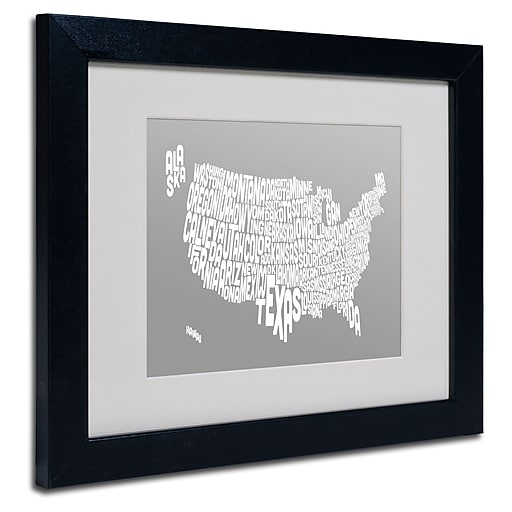 Trademark Fine Art Michael Tompsett 'GREY-USA States Text Map' Matted Black Frame 11x14 Inches