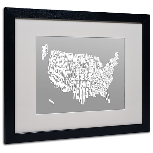 Trademark Fine Art Michael Tompsett 'GREY-USA States Text Map' Matted Black Frame 16x20 Inches