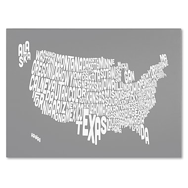 Trademark Fine Art Michael Tompsett 'GREY-USA States Text Map' Canvas Art 16x24 Inches