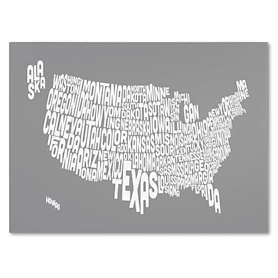 Trademark Fine Art Michael Tompsett 'GREY-USA States Text Map' Canvas Art 22x32 Inches