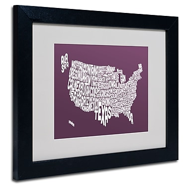 Trademark Fine Art Michael Tompsett 'MULBERRY-USA States Text Map' Black Frame 11x14 Inches