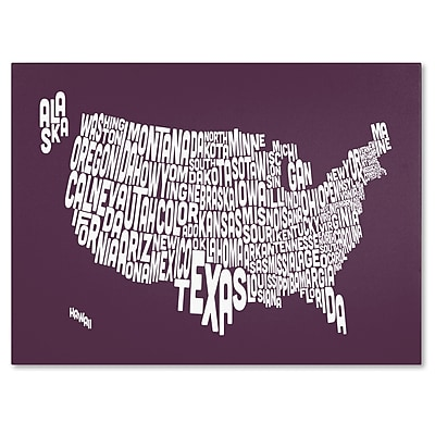 Trademark Fine Art Michael Tompsett 'MULBERRY-USA States Text Map' Canvas Art 22x32 Inches