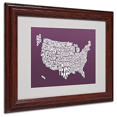 Michael Tompsett 'MULBERRY-USA States Text Map' Framed - 11x14 Inches - Wood Frame