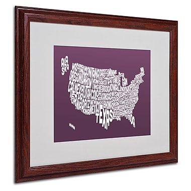 Michael Tompsett 'MULBERRY-USA States Text Map' Framed - 16x20 Inches - Wood Frame