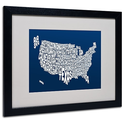 Trademark Fine Art Michael Tompsett 'NAVY-USA States Text Map' Matted Black Frame 16x20 Inches