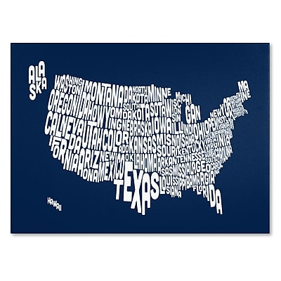Trademark Fine Art Michael Tompsett 'NAVY-USA States Text Map' Canvas Art 30x47 Inches
