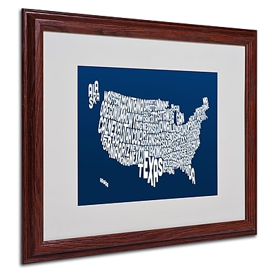 Michael Tompsett 'NAVY-USA States Text Map' Matted Framed - 16x20 Inches - Wood Frame