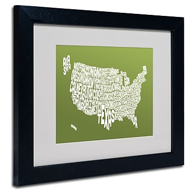 Trademark Fine Art Michael Tompsett 'OLIVE-USA States Text Map' Matted Black Frame 11x14 Inches