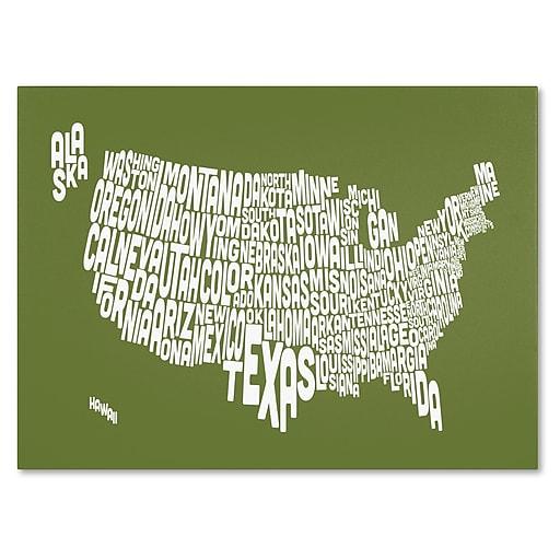 Trademark Fine Art Michael Tompsett 'OLIVE-USA States Text Map' Canvas Art 16x24 Inches