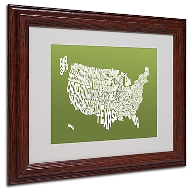 Michael Tompsett 'OLIVE-USA States Text Map' Matted Framed - 11x14 Inches - Wood Frame