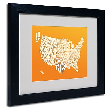 Trademark Fine Art Michael Tompsett 'ORANGE-USA States Text Map' Matted Black Frame 11x14 Inches