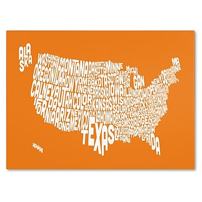 Trademark Fine Art Michael Tompsett 'ORANGE-USA States Text Map' Canvas Art 30x47 Inches