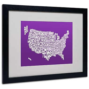 Trademark Fine Art Michael Tompsett 'PURPLE-USA States Text Map' Matted Black Frame 16x20 Inches