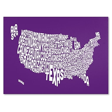 Trademark Fine Art Michael Tompsett 'PURPLE-USA States Text Map' Canvas Art 14x19 Inches