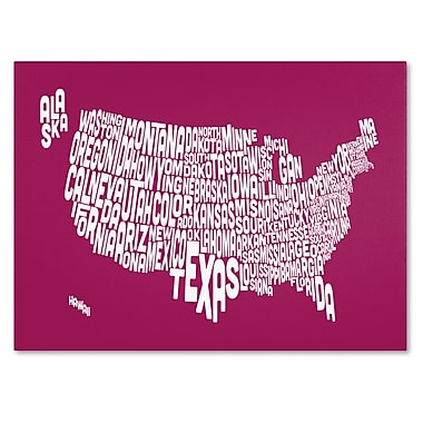 Trademark Fine Art Michael Tompsett 'RASPBERRY-USA States Text Map' Canvas Art 30x47 Inches