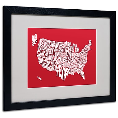 Trademark Fine Art Michael Tompsett 'RED-USA States Text Map' Matted Art Black Frame 16x20 Inches