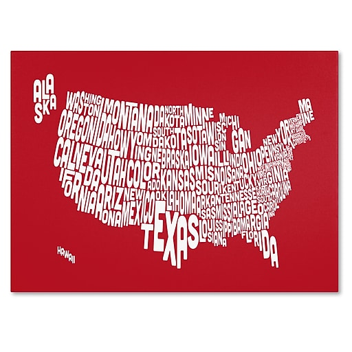 Trademark Fine Art Michael Tompsett 'RED-USA States Text Map' Canvas Art 30x47 Inches