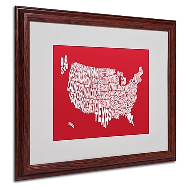 Michael Tompsett 'RED-USA States Text Map' Matted Framed Art - 16x20 Inches - Wood Frame
