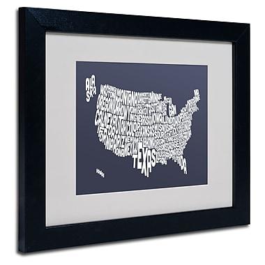 Trademark Fine Art Michael Tompsett 'SLATE-USA States Text Map' Matted Black Frame 11x14 Inches