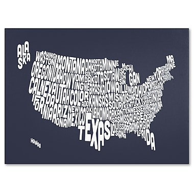 Trademark Fine Art Michael Tompsett 'SLATE-USA States Text Map' Canvas Art 30x47 Inches