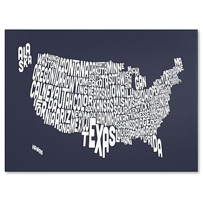 Trademark Fine Art Michael Tompsett 'SLATE-USA States Text Map' Canvas Art 16x24 Inches