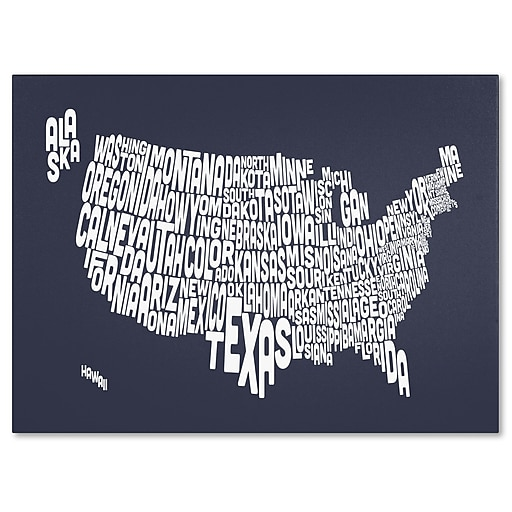 Trademark Fine Art Michael Tompsett 'SLATE-USA States Text Map' Canvas Art 30x47 Inches