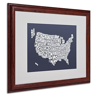 Michael Tompsett 'SLATE-USA States Text Map' Matted Framed - 16x20 Inches - Wood Frame