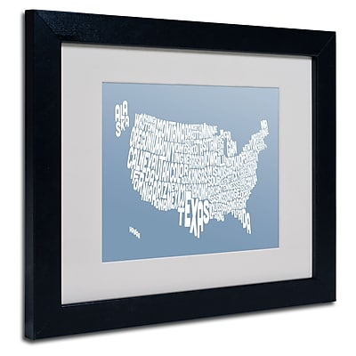 Trademark Fine Art Michael Tompsett 'STEEL-USA States Text Map' Matted Black Frame 11x14 Inches