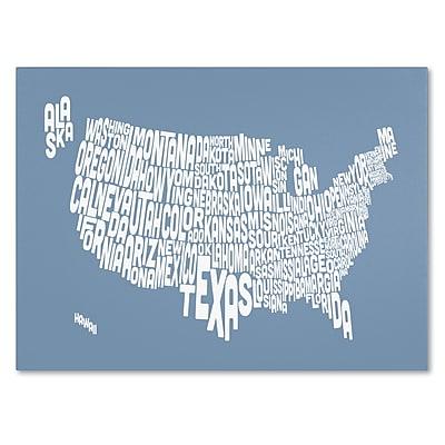 Trademark Fine Art Michael Tompsett 'STEEL-USA States Text Map' Canvas Art 22x32 Inches