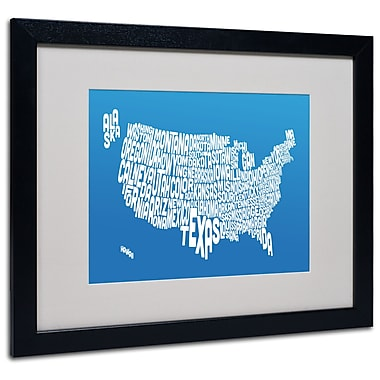 Trademark Fine Art Michael Tompsett 'SUMMER-USA States Text Map' Matted Black Frame 16x20 Inches