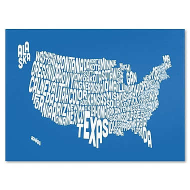 Trademark Fine Art Michael Tompsett 'SUMMER-USA States Text Map' Canvas Art 30x47 Inches