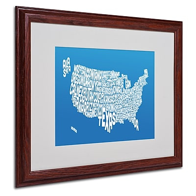Michael Tompsett 'SUMMER-USA States Text Map' Matted Framed - 16x20 Inches - Wood Frame
