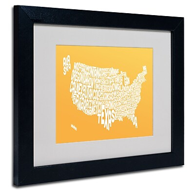 Trademark Fine Art Michael Tompsett 'SUNSET-USA States Text Map' Matted Black Frame 11x14 Inches
