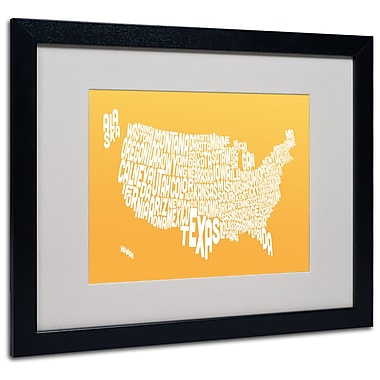 Trademark Fine Art Michael Tompsett 'SUNSET-USA States Text Map' Matted Black Frame 16x20 Inches