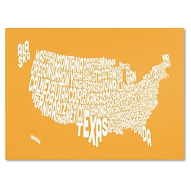 Trademark Fine Art Michael Tompsett 'SUNSET-USA States Text Map' Canvas Art 16x24 Inches