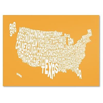 Trademark Fine Art Michael Tompsett 'SUNSET-USA States Text Map' Canvas Art 16x24 Inches